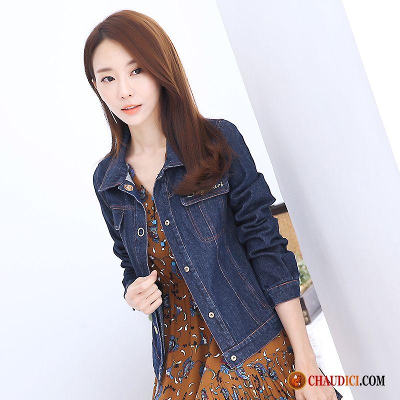 veste en jean avec manche en cuir femme les vestes la mode sont populaires partout dans le monde. Black Bedroom Furniture Sets. Home Design Ideas