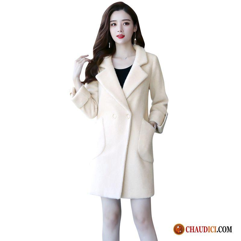 tout neuf cef48 b0be0 Veste Longue Hiver Femme Hiver Blanc Manteau Or Tissu De Laine