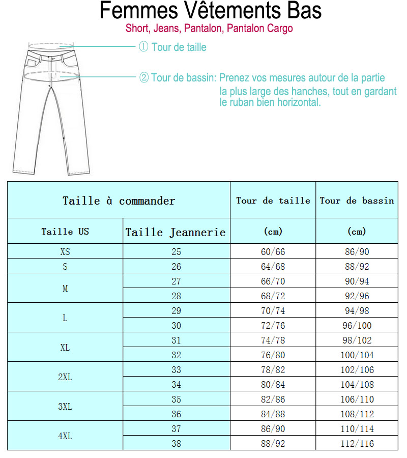 Chaudici Femme Jeans Taille